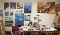 Studio spaces of Jessica Fallis on left, Catherine Johnson on right.
